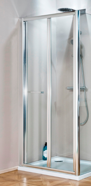 eco bi fold 700mm shower door silver frame with clear glass