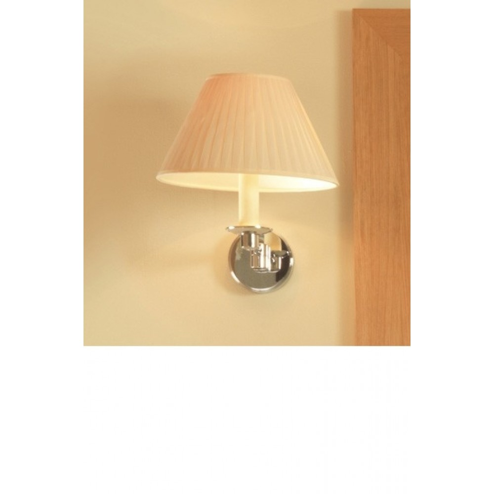 Small Interior Wall Lights : Imperial Brockton Wall Light With Flat Pleated Cotton Shade In Cream & Chrome