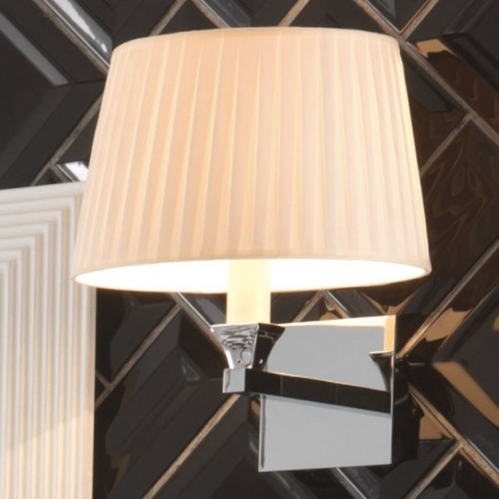 Luxury Bathrooms Morley: Imperial Astoria Wall Lamp With Round Flat Pleated Cotton