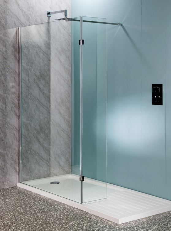 Shower Flipper Panel 300mm 10mm Glass With Easy Clean