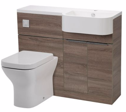 Tavistock Match Compact Vanity Set 1000mm and Basin, Havana Oak. RIGHT HAND SET