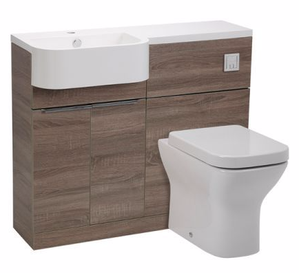 Tavistock Match Compact Vanity Set 1000mm Havana Oak and Basin  LEFT HAND SET